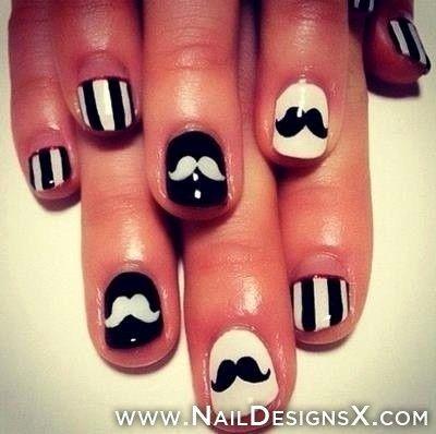 mustache 07 nail art