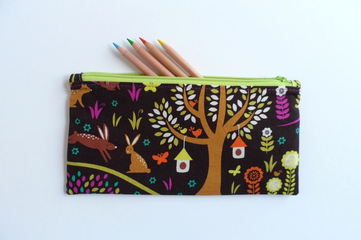 Kids pencil case - animal forest print, zipper purse, small zipper pouch, toy storage pouch, kids purse, gift for kids, diaper bag zip pouch by LittleFoxSewsLots on Etsy