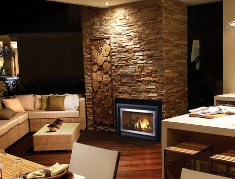 Stone feature wall for double sided fireplace