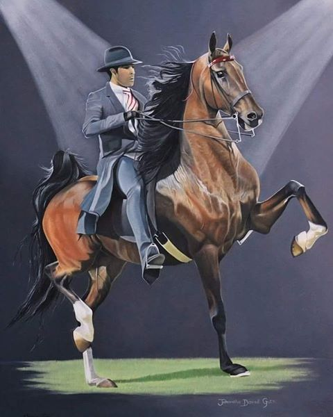 Another beautiful Saddlebred painting will be leaving for home today. Michelle Equi Art Studio sponsored a portrait of the winner of the Champion 5 Gaited Saddlebred class at Moorreesburg Show last year. 'Juhantha Disired Guts' ridden and owned by Hanlo Smith.    Oil on canvas.  Sponsored.    #equineartist #equineart #painting #oiloncanvas #horseart #oilpainting #art #horses #saddlebred #saddleseat #americansaddlebred #drawing #horsesofinstagram