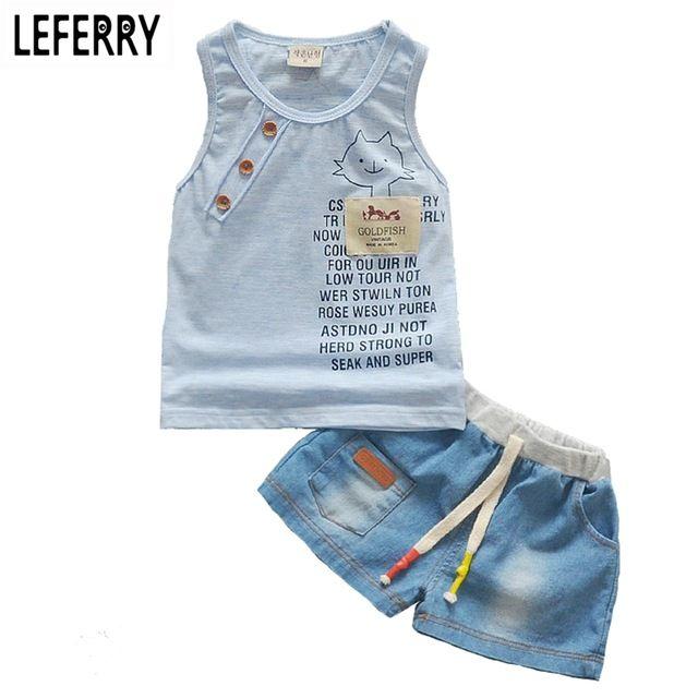 Детская Одежда Baby Boy Лето Одежда Набор Майка + джинсы Шорты Детские Малыш Мальчик Одежда Набор Детская Одежда для мальчики