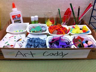 ART caddy for ECERS collage supplies >>>>More Than ABC's and 123's: Preschool Set Up YEAR TWO