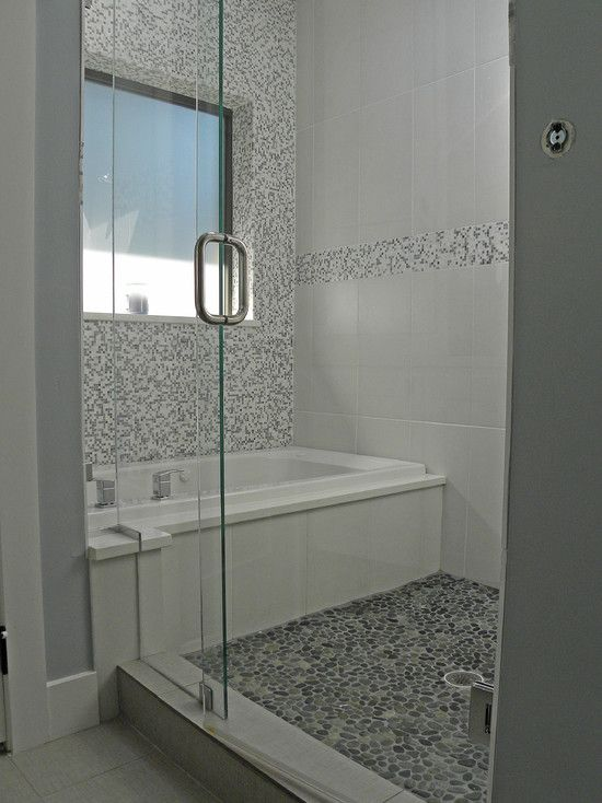 another layout idea for shared tub & shower space... room for multiple showerheads?  incorporate bench, rails.  (could use trompe d'oeil if no window available like this...)