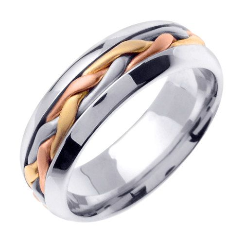 Titanium and 14K Tri Color Gold Hand Braided Cord Wedding Ring  This ring…