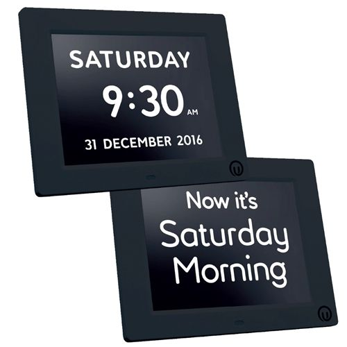"""Alzheimer's Clock 2-in-1 Calendar + Day Clock for Dementia w/Large 7"""" Black Frame Display. One of our best selling clocks for those with vision problems, memory loss, Alzheimer's and dementia! Not knowing the time and day can can lead to anxiety, agitation, wandering and repetitive questions for those with Alzheimer's. Our Black 7 inch, 2-in-1 Calendar & Day Clock is a wonderful solution to answer the question, """"What time is it""""? Find more Alzheimer's clocks at MindCareStore.com"""