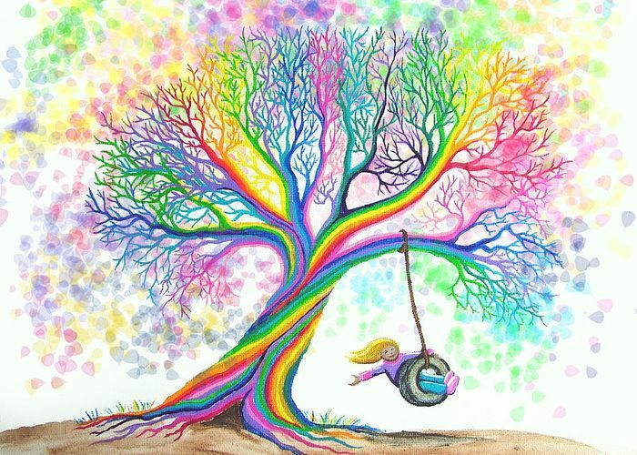 colorful rainbow tree - Colorful Art