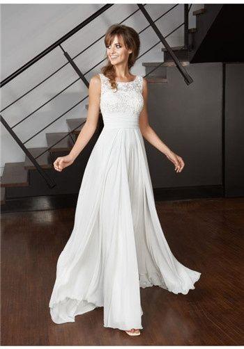 empire waist; lace top; illusion top; bateau neckline; boat neck; chiffon skirt; flowing skirt; elegant bridal gown; modern wedding dress; destination wedding dress; simple bridal dress