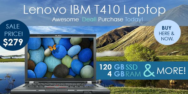 We wanted to begin the week with awesome deals for our customers! Check out our featured laptop-the Lenovo IBM T410 Laptop. It comes with an Intel i5 Dual Core processor, a 120GB SSD, 4GB of RAM, and more for only $279! We also have other great deals on laptops this week. We have the HP Elitebook 8440P laptop on sale for only $229 and the Dell Latitude E6410 laptop for only $219. Don't miss these deals! http://us8.campaign-archive2.com/?u=1b3b6cbe1de9a86ef50b0c851&id=675a67fea7
