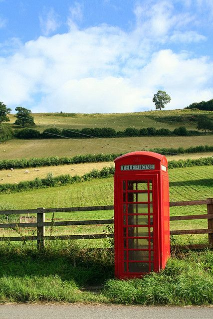 Telephone box outside Skenfrith Castle, near Abergavenny