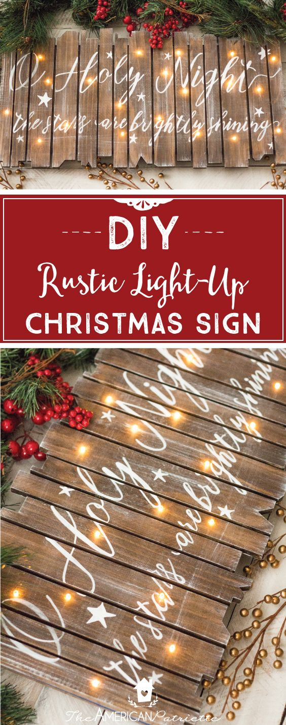 Wooden christmas ornaments to make and sell - Diy Rustic Light Up Christmas Sign