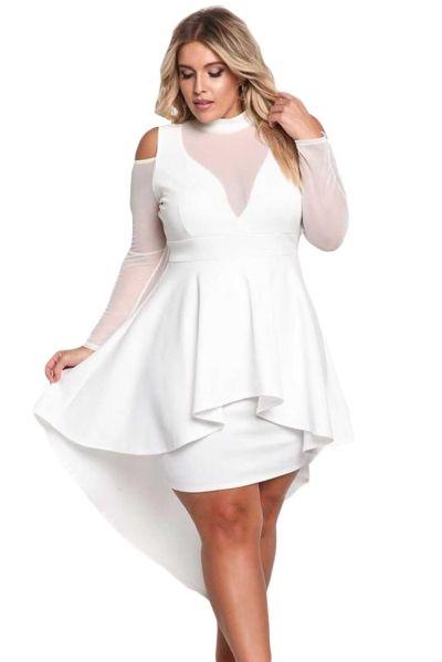 0c7e7be699 White Plus Size Mesh Trim Hi-Lo Peplum Bodycon Dress - STYLESIMO.com ...