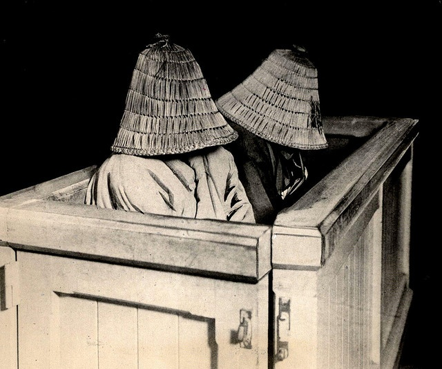 these women in a tokyo courtroom docket have baskets over their heads to hide their shame of wrongdoing