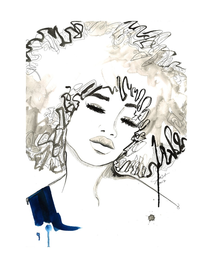 Print from Watercolor and Pen African American Fashion Illustration, Jessica Durrant, - The Afro. $25.00, via Etsy.
