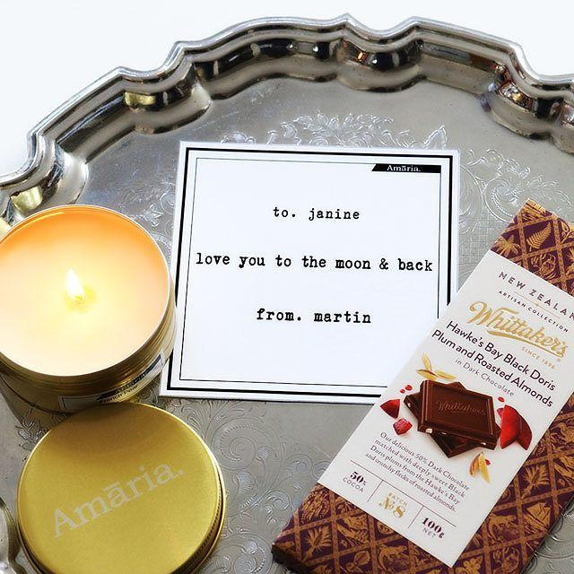 Can't go wrong with a personalised gift card a sweet smelling candle and delicious artisan chocolate thanks to @whittakersnz! Personalised gift cards FREE with every candle purchase...short time only.