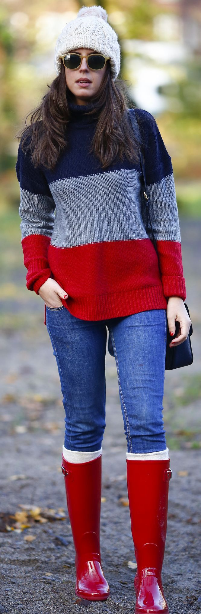 Red Hunter Boots and sweater