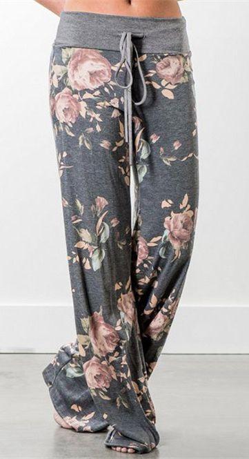 Drawstring Floral Print Wide Leg Pants