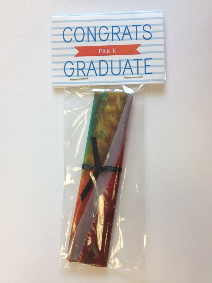 One of our super creative parents made these Diploma Fruit Roll Ups to hand out to all of the Pre-K Grads today. Thanks Dana DeLorenzo!