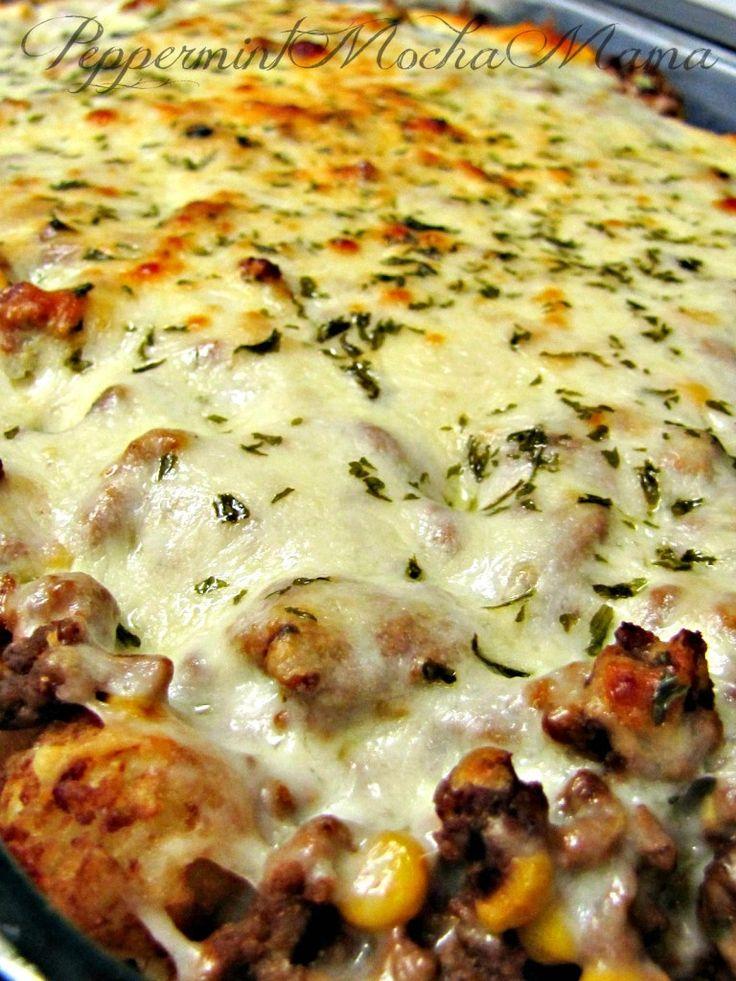 Cowboy Lasagna. Delicious casserole consisting of ground beef, corn, tater tots, mozzarella cheese.... so good!!