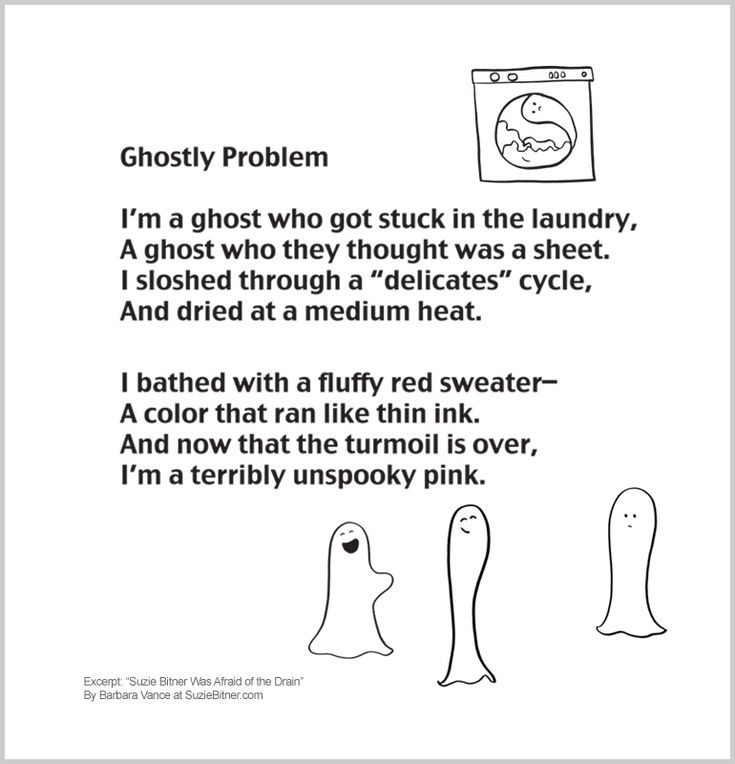 funny halloween childrens poem about a ghost who turns pink great for school and classroom - Funny Halloween Poems For Kids