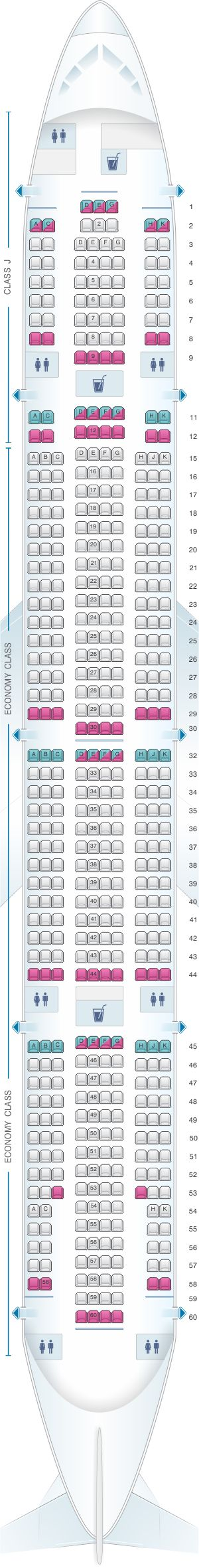 Seat Map Japan Airlines (JAL) Boeing B777 300 W24