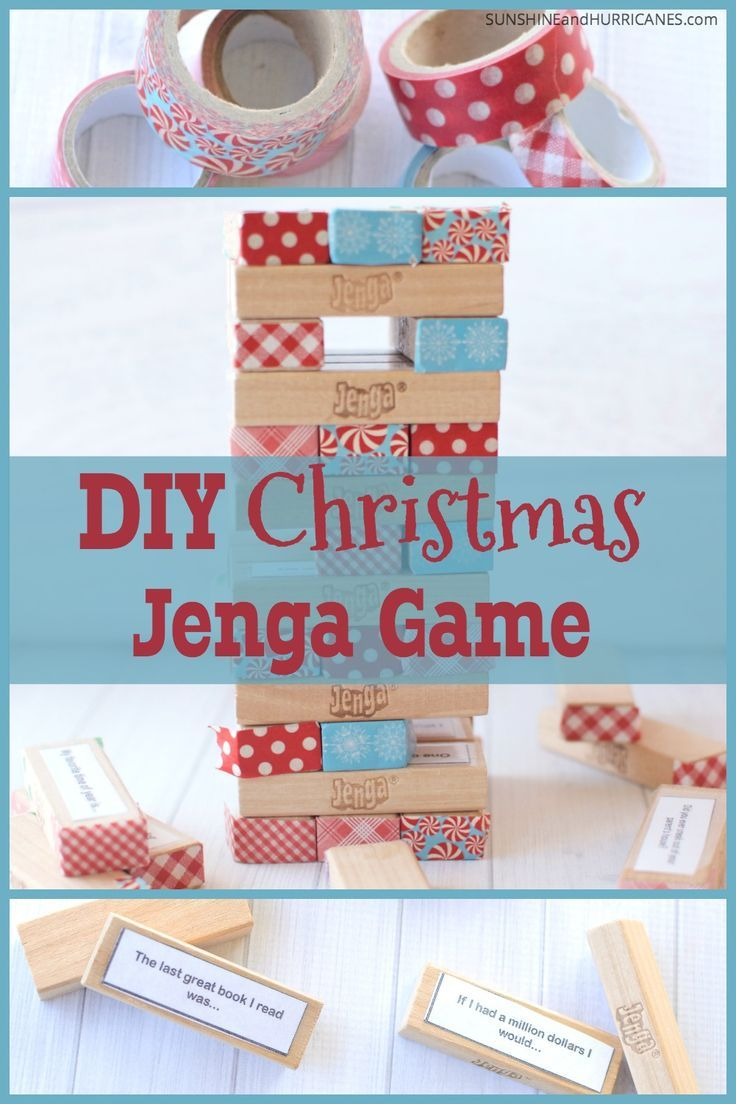 Looking for a fun holiday game to keep the peace during all that family togetherness time? When it comes to Christmas games this DIY holiday themed Jenga game is perfect for a family game night. From grandchild to grandparent, this is multi-generational fun that will keep everyone entertained. Christmas Games DIY Jenga. SunshineandHurricanes.com