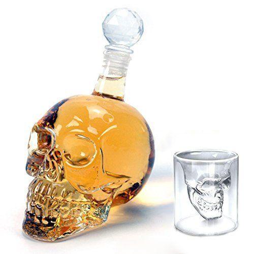 Amzdeal® Bouteille alcool 320ml Skull Head avec 6 Verres à Vin 75ml Forme de Crâne Carafe de Vodka /Whisky en verre cristal transparent:…