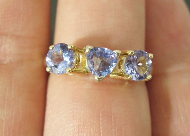 14K Three Stone High Quality Tanzanite Gemstones Yellow Gold Ring Size 6.5 http://capitalpawnvip.com/
