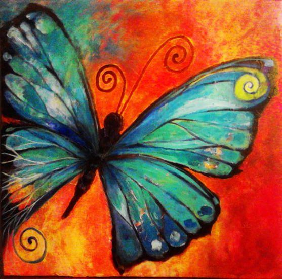 Comprar Mariposa azul - Pintura de Ana Pilar Gonzalez Leiva por 211,00 USD y 5% de descuento (2015/02/21) en Artelista.com, con gastos de envío y devolución gratuitos a todo el mundo