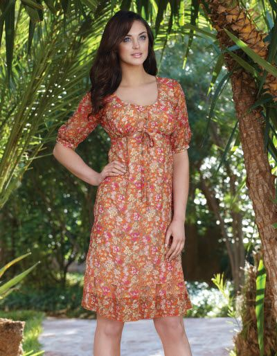 Floral chiffon tea dress in Coral £55  Fully lined.   Available in sizes 8 to 18 in Curvy, Really Curvy and Super Curvy.
