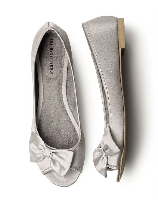 Perfect for the bride who wants a comfortable yet stylish option for her reception and dancing! Our ever popular peep toe satin ballet flat in a modern new shape. Matching offset satin bow detail.  These shoes are not meant to be dyed.   http://www.dessy.com/accessories/satin-peep-toe-bridal-ballet-flats/