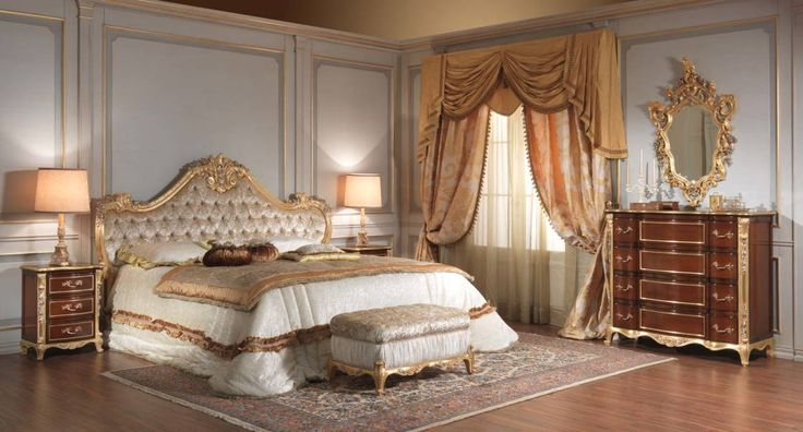 Romantic Master Bedroom Ideas With Italian Classic King Bed Frame Furniture Of The Feature Gray Tufted Headboard Combine Antique Gold Carving Art And Equipped Twin Table Lamps On Nightstand Plus Small Bench Bedrooms, High Quality And Superior Costco Bedroom Furniture Inspiration : Bedroom, Furniture, Interior