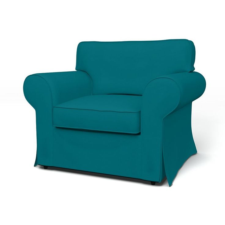 Ektorp, Armchair Covers, Armchair, Regular Fit using the fabric Panama Cotton Teal Blue
