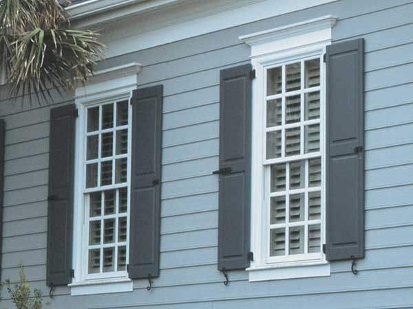 Colonial windows love the old shutters look house - Decorative exterior door pediments ...