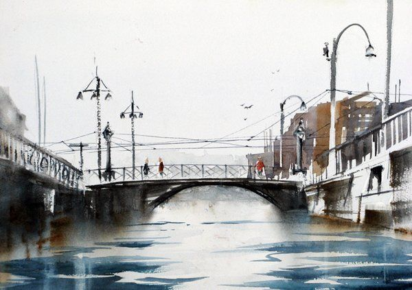 Anders Andersson #onlyart_review #sea #city #bridge #landscape #cityscape #painting #art #onlyartfigurativism