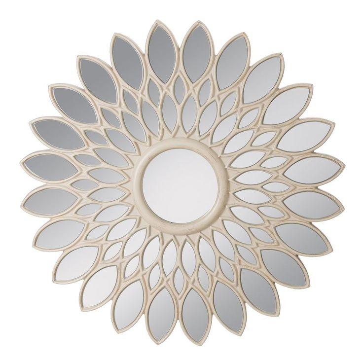 Espejo flor banco rozado, 100x3,5x100cm