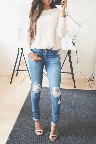 white sweater, faded distressed Jeans and nude open heels