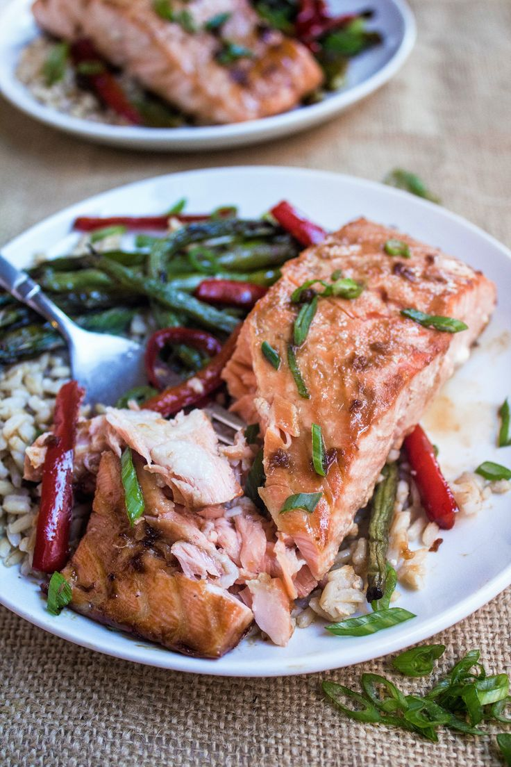 Sheet Pan Salmon & Veggies with Ginger Soy Glaze - this 15 minute one-pan dinner couldn't be any easier or more delicious!  | quick easy dinner recipe | healthy salmon recipe | easy salmon recipe | healthy dinner idea | asian salmon recipe | one pot dinner |
