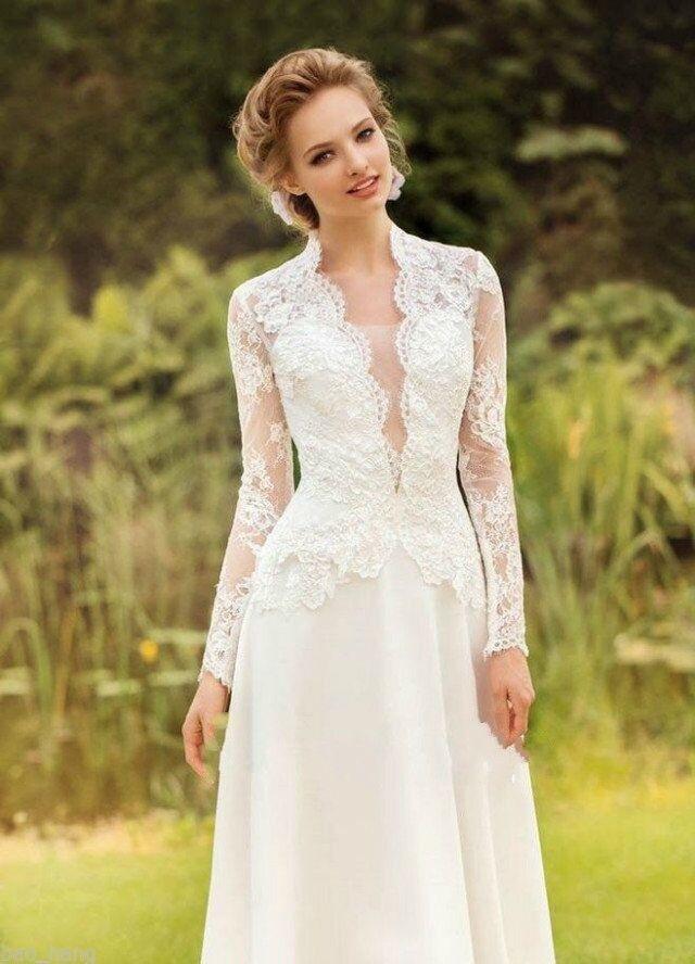 Neu Vintage Spitze Brautkleid Elfenbein Langarm Abendkleid Partykleid ...