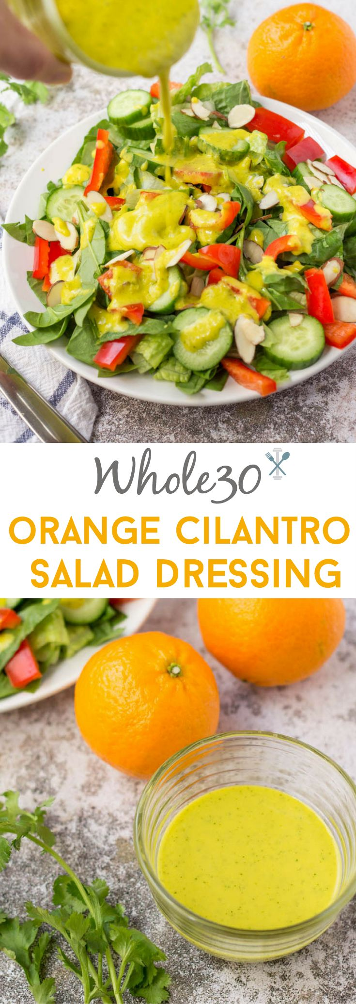 Creamy, Whole30 orange cilantro salad dressing - less than 5 minutes to make and burning with flavor. Vegan • Paleo