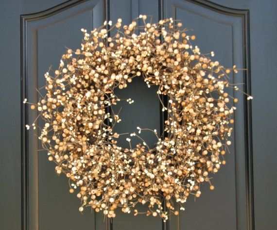 Wheat Fields Berry Wreath, Barley Fields, Outdoor Wreaths and Decorations, Fall Berry Wreath, Summer Wreaths, Year Round Wreath via Etsy