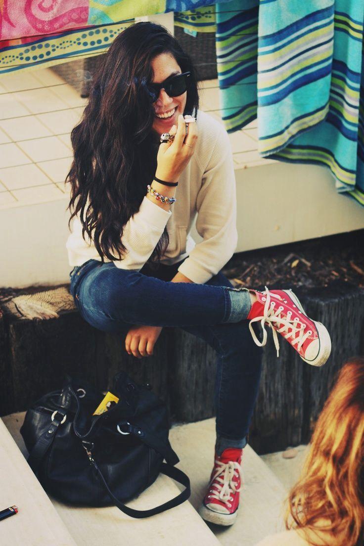 Gotta love a girl who rocks chucks without a band t-shirt