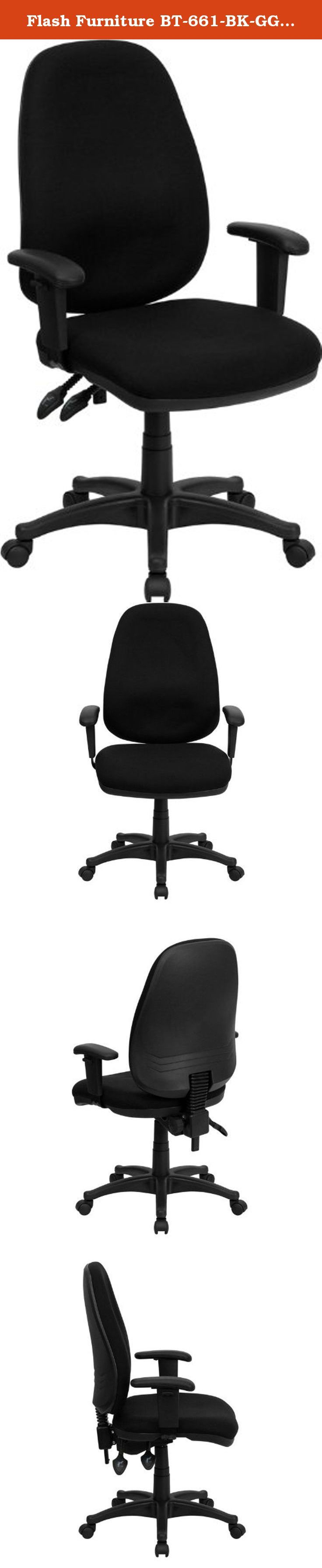 Flash Furniture BT-661-BK-GG High Back Black Fabric Ergonomic Computer Chair with Height Adjustable Arms. This black computer task chair has all the features needed to ensure that comfort even on the days that seem never-ending. Characteristics such as built-in lumbar support, height adjustable seat, back, and arms, and its ergonomic design make this task chair perfectly customizable for your use. [BT-661-BK-GG].