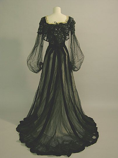 Circa 1900 English Evening Dress by Russell & Allen: net over silk, velvet, boned bodice; worn by Maud Messel (nee Sambourne).