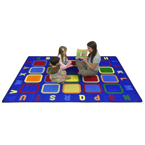 this colorful and creative alphabet tiles classroom rug will inspire excitement and learning in your daycare or preschool classroom comes in 2 sizes