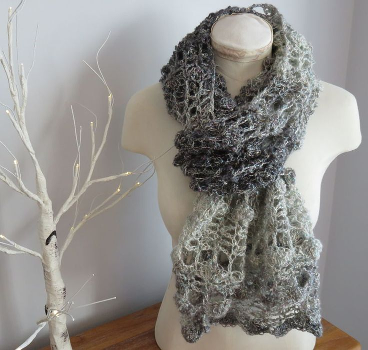Opal Shell Crochet Wrap Scarf using Shawl in a Ball from Lion Brand