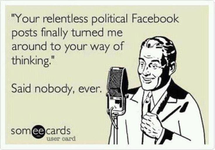 Yes yes yes! I'd like to meet ONE person whose opinion (of the candidate or political party) was ever changed because of obnoxious political posts.