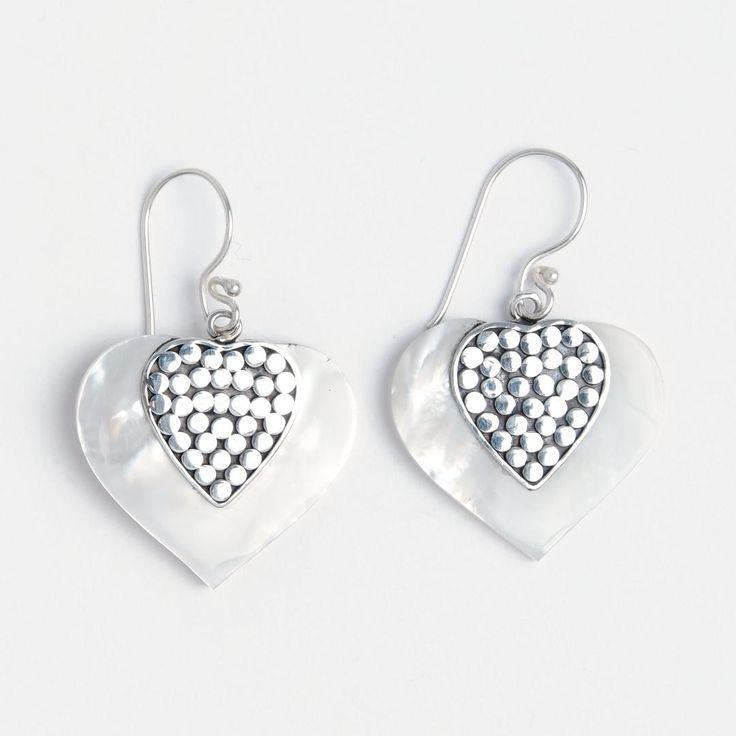 Cercei inimioară Valentine, argint și sidef, Indonezia