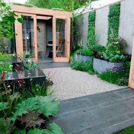 vertical garden, paved courtyard, small modern garden