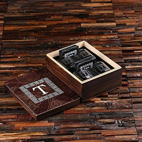 Be Ready for the Gathering! 4pc Personalized Whisky Place Settings with Glasses and Coasters in Painted Wooden Gift Box - Great Gift for Men, Groomsmen, Father's Day