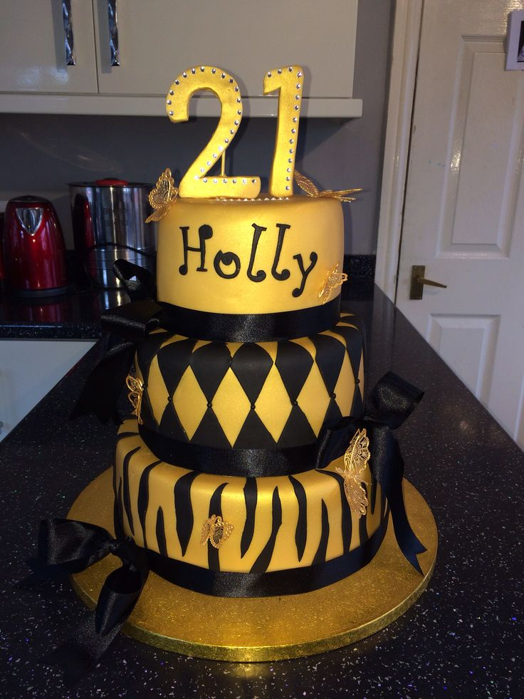 Black And Gold 3 Tier 21st Birthday Cake Cake 21st